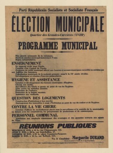 Elections Municipales Quartier Des Grandes Carrieres Xviiie